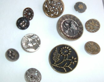 Button Closeout - Lot #6 - 11 Vintage Metal Assorted Buttons