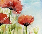 Red Poppies Watercolor Painting Art Print Poppy Red Flowers Field of Poppies Art Print Floral Painting Poppy Wall Art Blue Sky Spring Flower