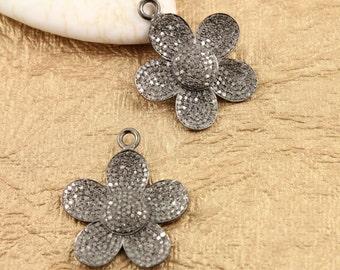 Pave Diamond Pendant, Pavé  Flower Pendant, Diamond Flower Charm, Pave Flower Necklace, Pave Connector, Oxidized Silver. (DCH/CR380)