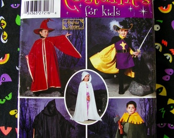 Wizard Muskateer Grim Reaper Fantasy Halloween Cosplay Costumes Child 3 4 5 6 7 8 Andrea Schewe SIMPLICITY 0629 uncut sewing pattern