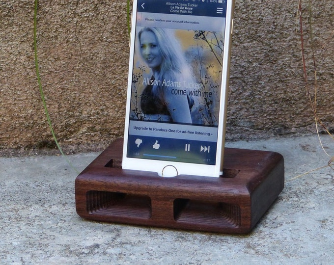 Docking Station for iPhone 6 & 7 Plus - RETRO model in WALNUT – Use With or Without a Cover - Boosts the Sound
