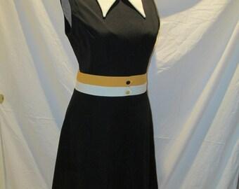 Vintage 1960s / 1970s Sleeveless Collared Kenny Classics Dress Size 18 Large / XLarge Poly
