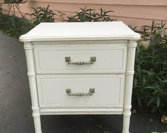 FAUX BAMBOO NIGHTSTAND, Classic Style, Two Drawer, Off White, Chinoiserie, Chinese Chippendale at Ageless Alchemy