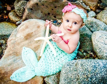 Crochet Baby Mermaid Sea Green and Pink Coral Baby Girl Outfit Costume Photo Prop