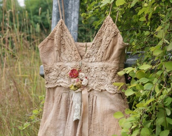 Altered Couture, Boho Fashion, Art to Wear, Upcyled Recycled, Free People Top, Romantic Summer blouse, Festival Fashion, Shabby Chic fashion