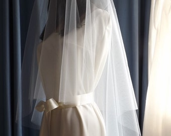 Chapel 30/90 - Circular Drop Bridal Veil - Plain Raw Edge