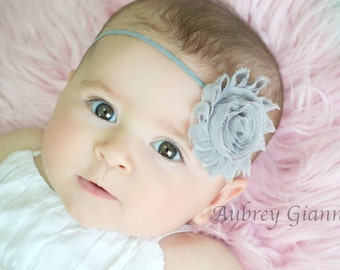 Grey Yellow Shabby Flower on Skinny Elastic Headband, Newborn Headband, hair bow, Toddler Headband, Baby Photo Prop.