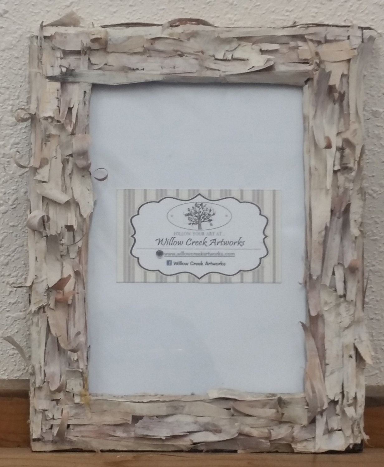 Birch bark covered picture frames