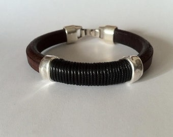 Licorice Leather bracelet. leather bracelet. bracelet for men. mens leather. husband gift, cool jewelry, silver plated, jewelry for men