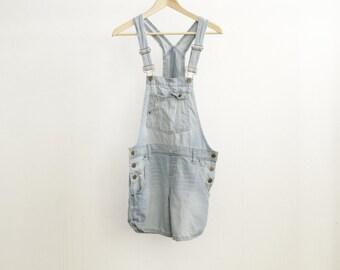 faded blue DENIM overalls 90s blue jean oxford JUMPER mini dress VINTAGE romper jean shorts