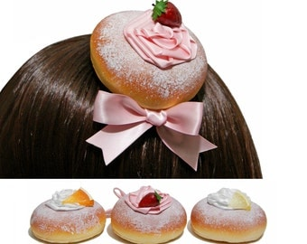 Deliciously Sweet Jelly Filled Donut Hair Clips - 3 Flavors
