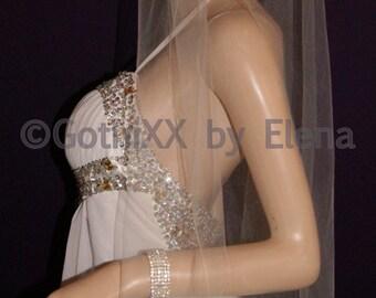 "Wedding Bridal Veil Elbow Fingertip length Black Blush Purple Lavender Pink Ivory White Beige Single Tier 54"" Width 36"" Length Pencil Edge"