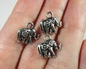 Silver Elephant Charms 12x12mm Antique Silver Tone Metal Small Elephant Charm Animal Charms Elephant Pendant Jewelry Findings 10pcs