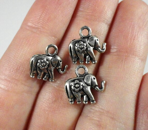 Silver Elephant Charms 12x11mm Antique Silver Tone Metal Small Elephant Charm Animal Charms Elephant Pendant Jewelry Findings 10pcs