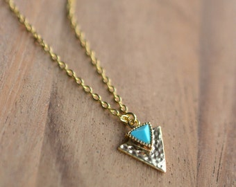 Gold Triangle Necklace with Turquoise Accent // Simple Gold Turquoise Pendant Necklace // GIFT FOR HER // Geometric // Bridesmaid Gift