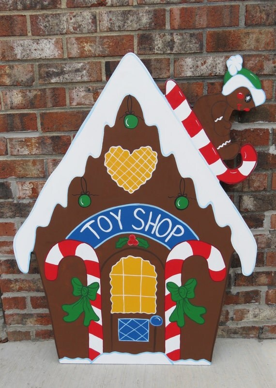 Christmas gingerbread toy shop wood outdoor by for Gingerbread house outdoor decorations
