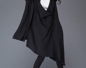 Black linen jacket/ loose irregular jacket/ Asymmetric jacket/ hood jacket    C984