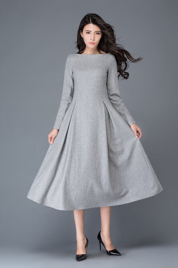 Light gray wool dress/long women's dress/winter dress  C1026