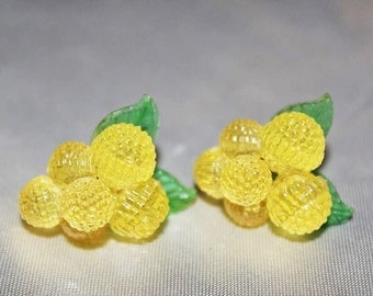 CARMEN MIRANDA Stunning Vintage Fruit Lemon Earrings ED10