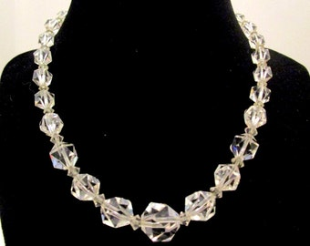Antique Lovely ART DECO Sterling Silver Faceted ROCK Crystal Necklace