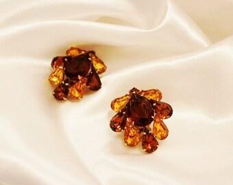 SALE! Exquisite Fabulous Alluring JULIANA Topaz Amber Rhinestone Large Earrings