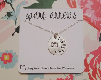 Oh, Snap! (3/4 inch Hand Stamped Sterling Silver) Necklace