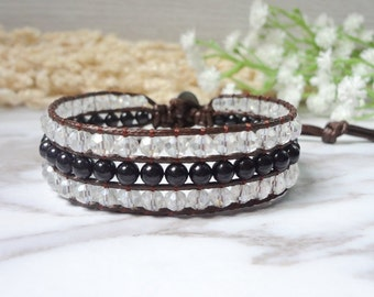Single Wrap Bracelet Handcrafted 3 lines Black White Leather Beads Jewelry