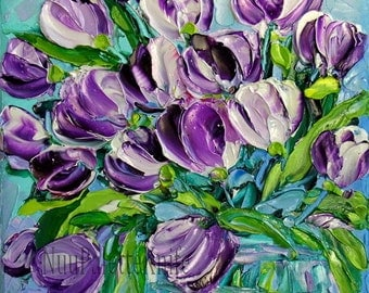 Tulip Art Small Oil Painting Purple Flower Textured Impasto Knife Mini Small Canvas Framed or Unframed Option Wedding Gift for Her 6x6
