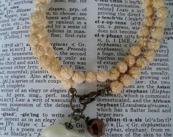 Elephant Bracelet, Wrap Bracelet, Faux Ivory Bracelet, Elephant Jewelry, Ganesha, Vintage Beaded Bracelet, Faux Ivory Jewelry, Vintage Beads