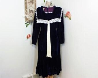 Vintage Dress, Jessica Mc Clintock, Gunne Sax, 1980's Dress, Blue Velvet, Size Small