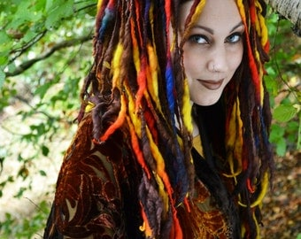 Leanan Sidhe ELFLOCKS Dreadlocks Dread Falls in Brown/Yellow/Red/Blue for Cosplay, LARP, Tribal Dance, Festivals, Alt Fashion, Performance