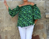 NEW SS16 Green Floral Maxi Top, Ruffle top, Ruffle blouse, blouse, top, Oversized top, Maxi top, Tunic , Summer top