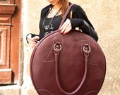 NEW Burgundy  Genuine Leather Bag / High Quality  Tote Circle Large Bag / zipper close up /  Unique Bag by AAKASHA A14318