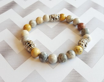 Natural Stone 8mm Jasper Beaded Bracelet / Beaded Bracelet / Multi Colored Jasper Bracelet