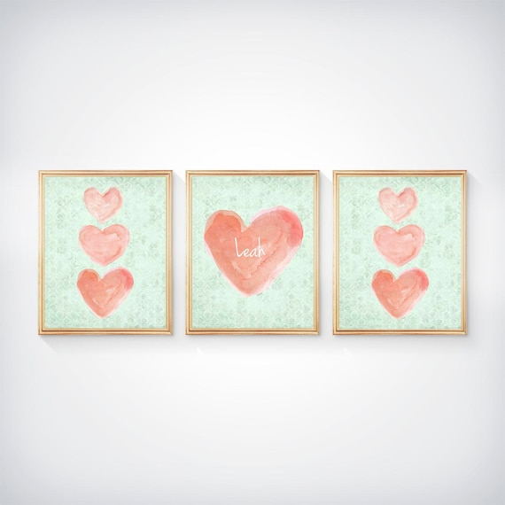 Coral and Mint Nursery Girls Gallery Wall, 8x10 Set of 3 Personalized Heart Prints