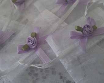White Organza Bag With Lavendar Flower/ Wedding Favor Bag/ Set of 10 Hand-Decorated