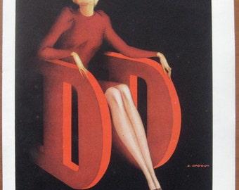 Dore Dore, 1947, vintage, ad, original, nylons, fashion, French, woman, stockings, Gadoud, advertisement, free shipping, paper, ephemera