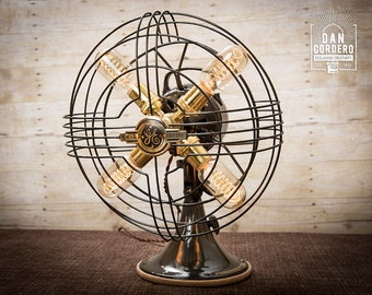 Fan Lamp | GE Model | Table Lamp | Desk Lamp | Nightlight | Bed light | Vintage Fan | Lamp | Steampunk lamp | Steampunk | Industrial Light