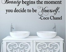 """Beauty Begins the moment...to be yourself Coco Chanel-22H x 60""""W-Vinyl Wall Decal-Salon Decor-"""