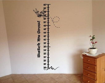 Dragonfly Growth chart Childrens Room Decor  Large Vinyl Wall Decal lettering Graphic Art Mural-Nursery Playroom decal