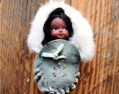 Collectors Doll - Vintage Eskimo Inuit Doll - in fur suede moccasin - Native Doll