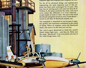 Beechcraft 1960s Vintage Ad 1967 Beech Aircraft Wichita Kansas Turbo Baron Airplane