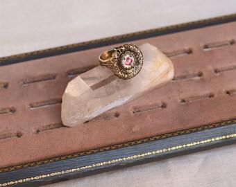 vintage pink flower & filigree ring