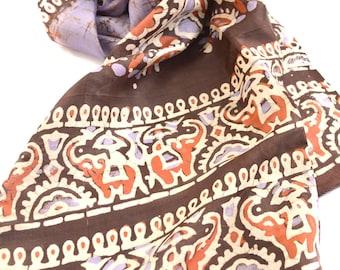 batik scarf, purple silk scarf, tribal scarf, elephants, long scarf, indian scarves vintage sari handmade scarf, gypsy hippie boho