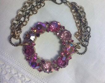 Pink & Rose Rhinestone Bracelet Repurposed Mid Century Assemblage Infinity Brooch Multi Chains Gold-tones Bold Chunky Statement WishAnWear