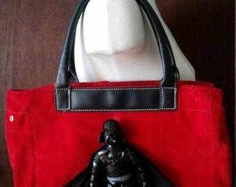 Darth Vader Red Corduroy Handbag Star Wars Purse Black Doll Figure Tote Bag Book