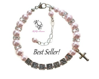 Personalized Christening Bracelet, Baptism Gift, Christening Gift, Personalized Baby Gift, Keepsake Bracelet, Religious Jewelry, Baby Gift