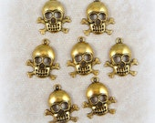Gold Skull Charm - Skull Charm for Crafts and Jewelry Making - 27mmx23mm - Qty. 10