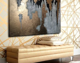"Black White Painting, Abstract large black gold Painting, Black Gold wall art, Abstract gold, 40"" Large Painting, Gold Painting, Spray"