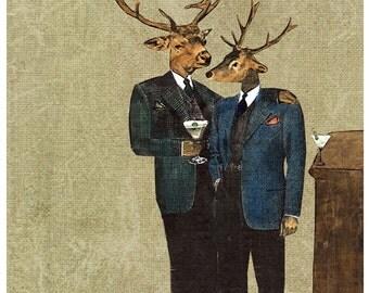 Deer Men Print | 8x10 Antlers Deer Wall Art | Martini Bar Deer Art Print | Art for Men | Art for Dad | Unique Vintage Mixed Media Collage